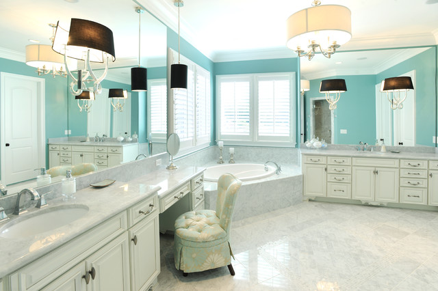 Vanity Dressing Table Bathroom Traditional with Bathroom Bright Blue Walls