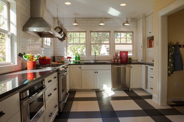 Vct Flooring Kitchen Traditional with Beige and Black Floor