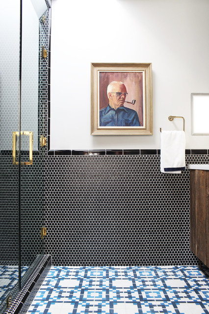 Vct Tile Bathroom Contemporary with Black Penny Tile Blue