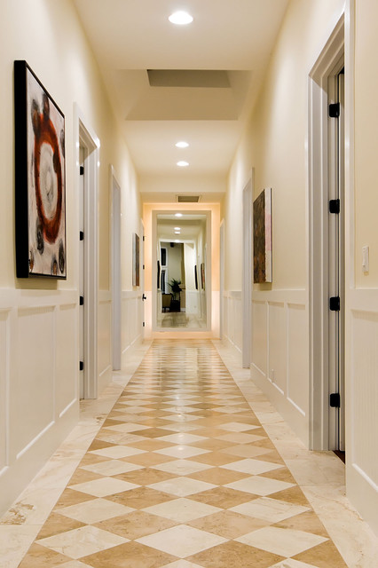 Vct Tile Hall Traditional with Ceiling Lighting Checker Print