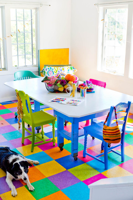 Vct Tile Home Office Farmhouse with Bright Colors Chairs Floor