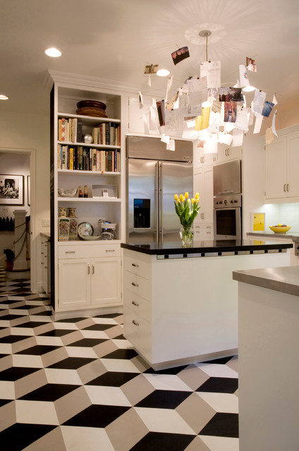 Vct Tile Kitchen Modern with Black and White Black1