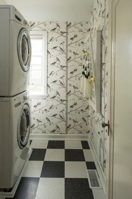 Vct Tile Laundry Room Eclectic with Birds Checker Checkered Dryer