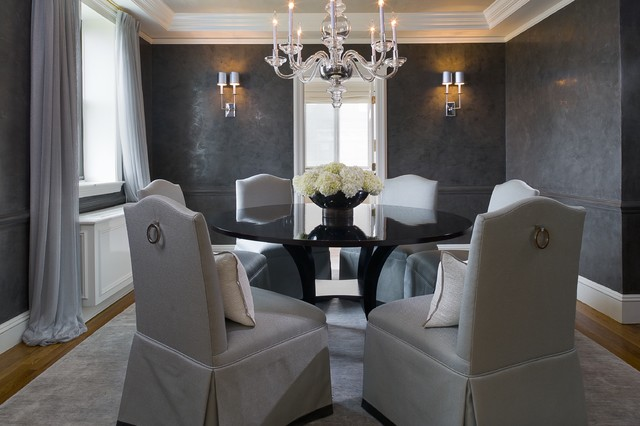 venetian plaster Dining Room Transitional with banded chairs chandelier dark