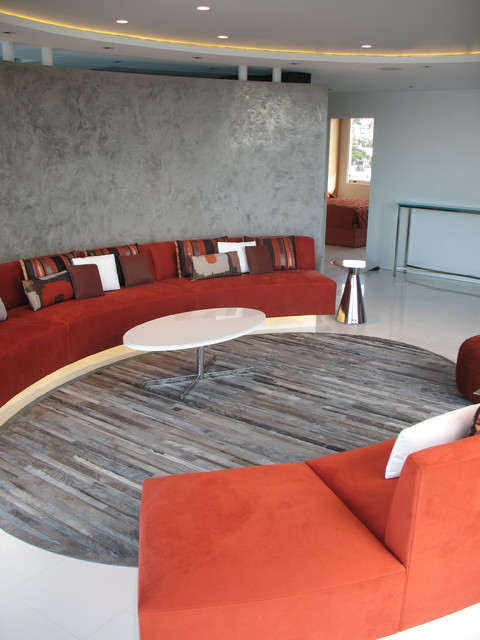 Venetian Plaster Family Room Contemporary with Boards Conversation Pit Curved