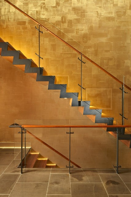 Venetian Plaster Staircase Modern with Afromosia Blackened Steel Glass