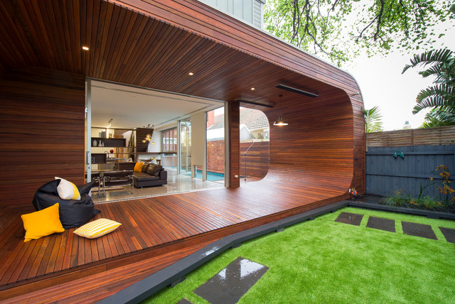 veranda decking Deck Contemporary with black beanbag chair curved