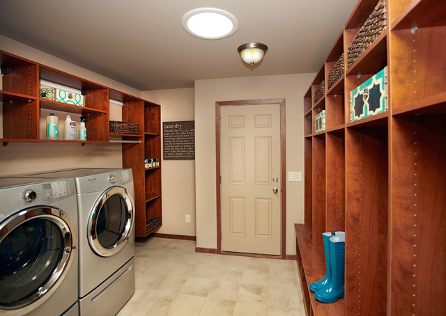 Veridian Homes Laundry Room Contemporary with Bench Boots Built in Storage