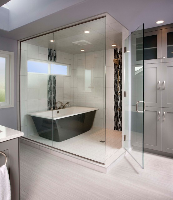 vertical bathtub Bathroom Transitional with free standing tub freestanding