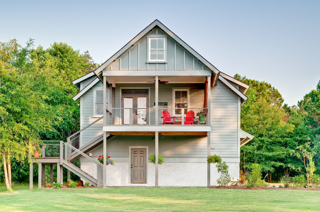 Vertical Siding Exterior Farmhouse with Balcony Board and Batten