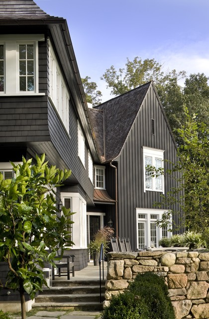 vertical siding Exterior Traditional with black board and batten