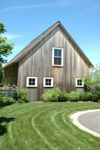 Vertical Siding Garage and Shed Farmhouse with a Frame Barn Exterior Barn
