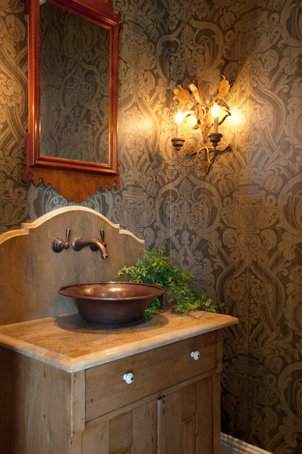 Vessel Sink Faucets Powder Room Farmhouse with Angled Faucet Brown Wallpaper