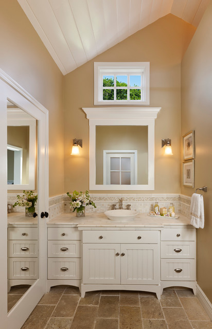 Vessel Sink Vanity Bathroom Traditional with Beadboard Cabinet Bin Pull