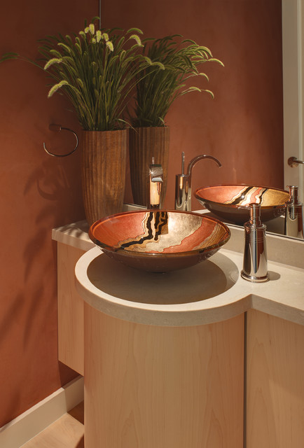 Vessel Sink Vanity Powder Room Contemporary with Bathroom Bathroom Accessories Contemporary