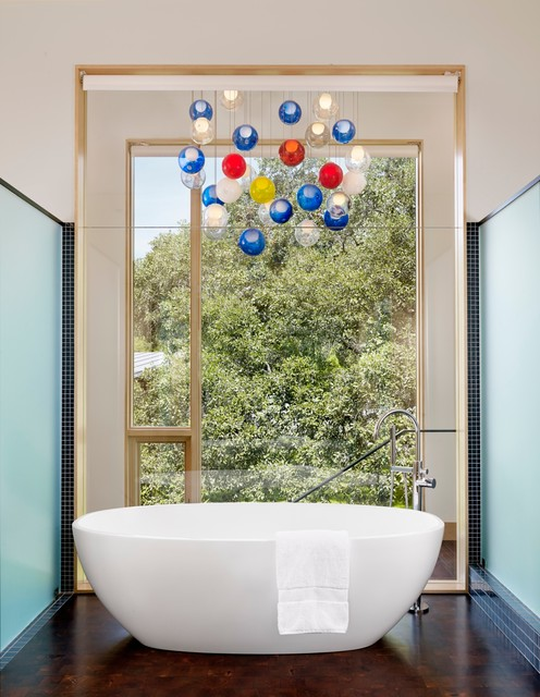Victoria and Albert Tubs Bathroom Contemporary with Colorful Pendant Lights Floor