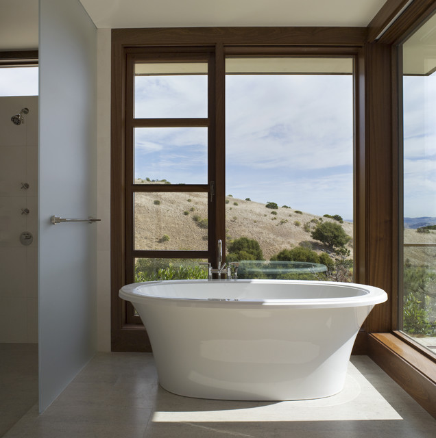 Victoria and Albert Tubs Bathroom Contemporary with Corner Windows Floor To