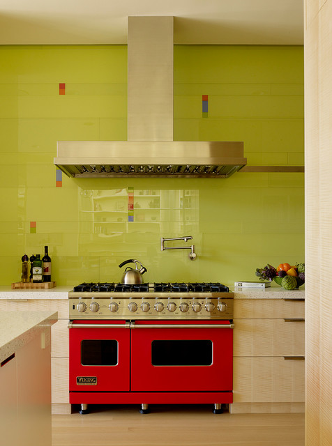 Viking Oven Kitchen Contemporary with Accent Colors Bright Colors