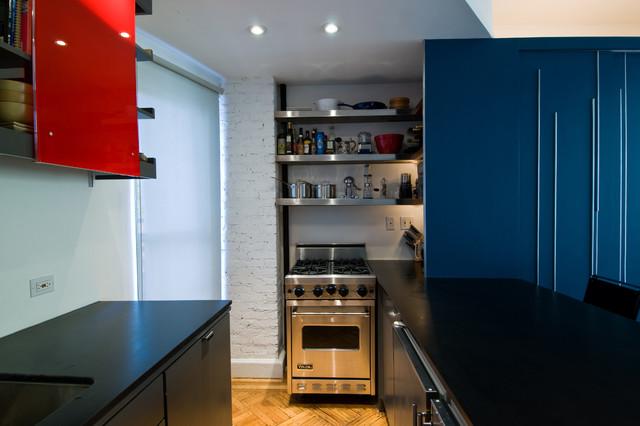 Viking Oven Kitchen Modern with Black Countertops Blue Cabinets