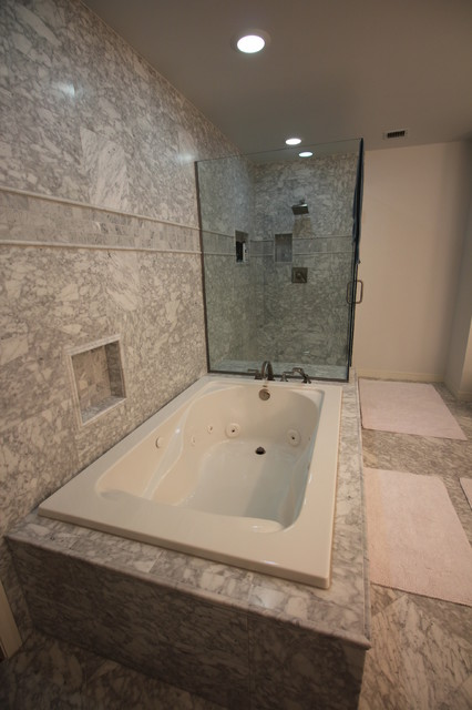 Virtu Usa Bathroom Transitional with Carrara Marble Marble Shower2