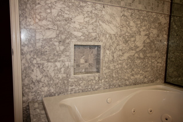 Virtu Usa Bathroom Transitional with Carrara Marble Marble Shower3