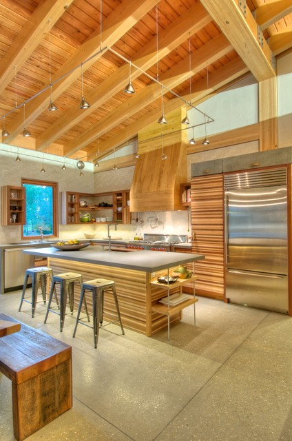 Wac Lighting Kitchen Modern with Butcher Block Concrete Counters