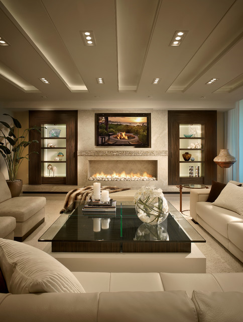 Wac Lighting Living Room Contemporary with Boca Raton Built In