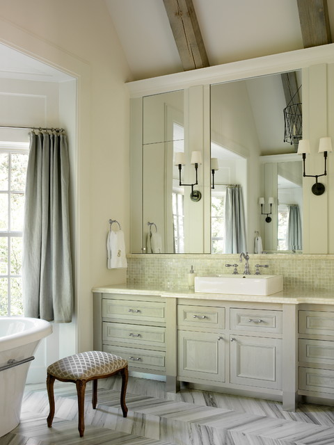 Walker Zanger Bathroom Traditional with Beams Curtain Panel Freestanding