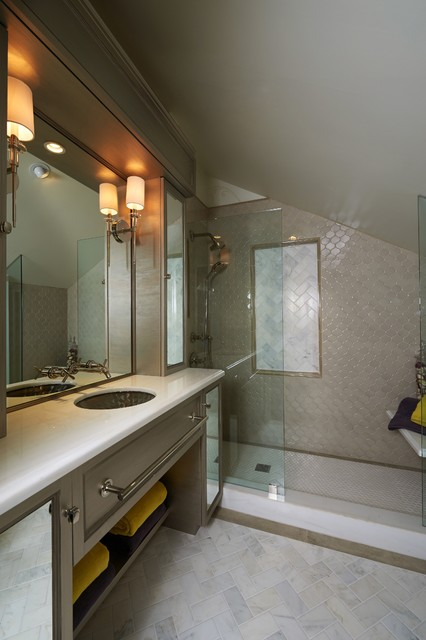 walker zanger tile Bathroom Contemporary with custom vanity doorless shower