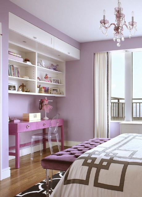 Wall Mounted Bookcase Bedroom Transitional with Clear Ghost Chair Contemporary