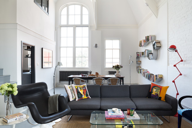 Wall Mounted Bookcase Living Room Industrial with Arch Window Black Armchair