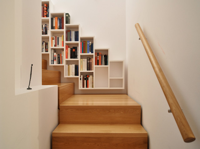 wall mounted bookcase Staircase Contemporary with books in staircase floating