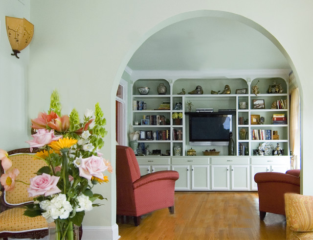 Wall Mounted Bookshelves Living Room Traditional with Arch Archway Bookshelves Built