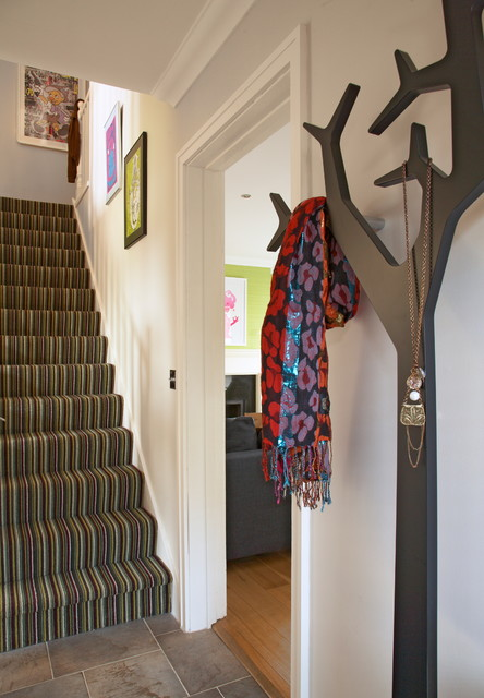 Wall Mounted Coat Rack Entry Eclectic with Carpeted Stairs Coat Hanger