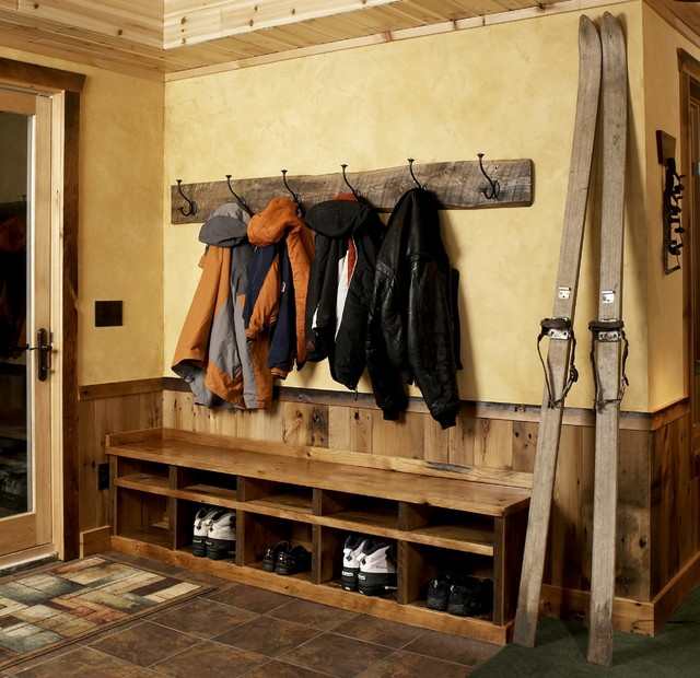 Wall Mounted Coat Rack Entry Rustic with Coat Hooks Cubby Holes