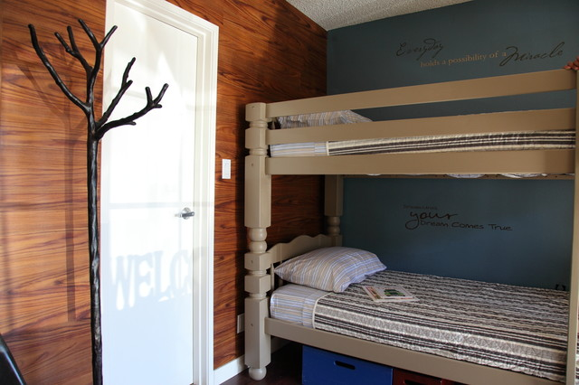 wall mounted coat rack Kids Contemporary with Bedroom blue wall bunk
