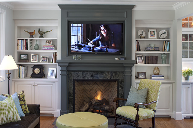Wall Mounted Electric Fireplace Family Room Traditional with Bookcase Bookshelves Built In