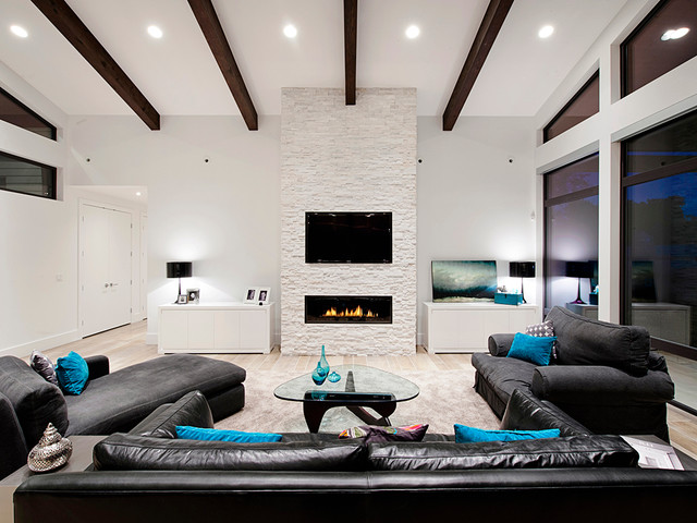 Wall Mounted Electric Fireplace Living Room Contemporary with Beams Beige Rug Black