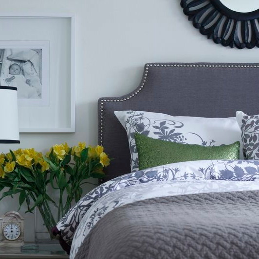 Wall Mounted Headboards Bedroom Eclectic with Charcoal Linen Headboard Custom