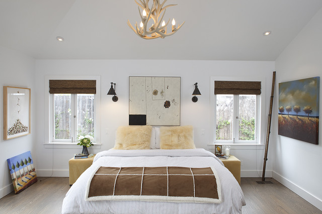 Wall Sconce with Switch Bedroom Contemporary with Antler Chandelier Bedside Table