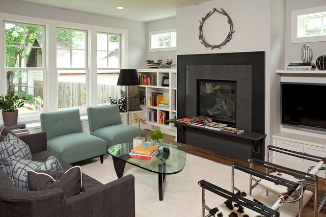 wassily chair Living Room Contemporary with black fireplace surround black