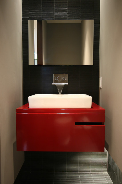 Waterfall Faucet Bathroom Contemporary with Black Tile Floating Vanity