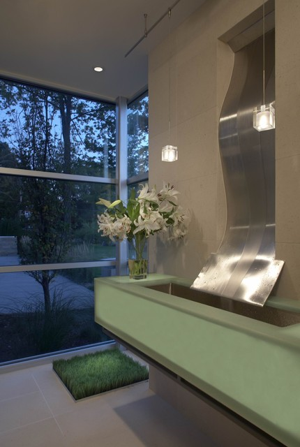 waterfall faucet Bathroom Contemporary with ceiling lighting corner windows