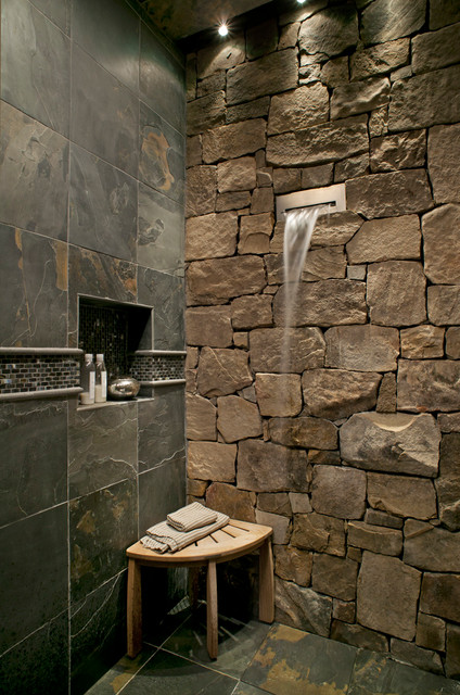 Waterfall Faucet Bathroom Rustic with Corner Bench Fountain Mosaic