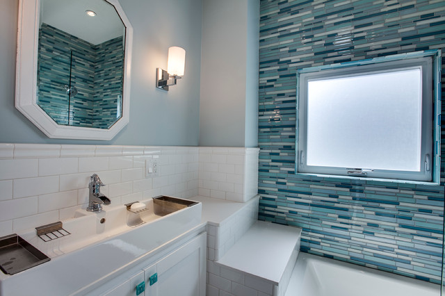 Waterfall Faucet Bathroom Transitional with Bathroom Mirror Blue Cabinet