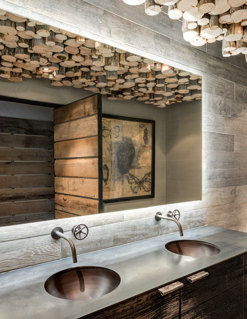 Watermark Faucets Bathroom Rustic with Barnboard Barnwood Cove Lighting