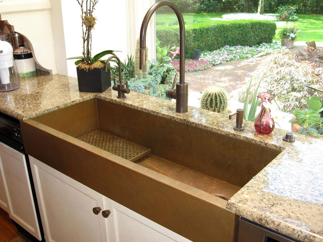 Waterstone Faucets Kitchen Eclectic with Copper Apron Front Sink