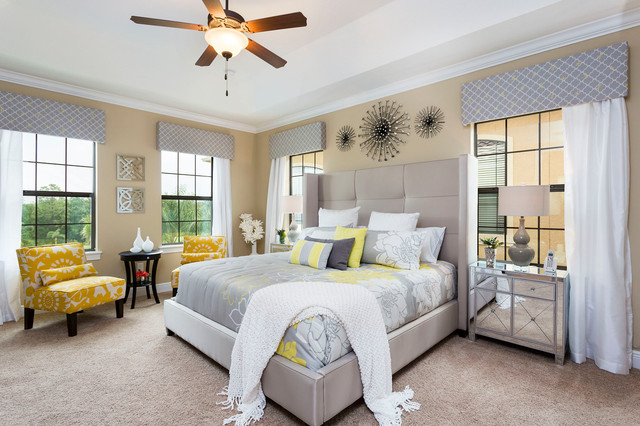 Waverly Curtains Bedroom Contemporary with Beige Wall Ceiling Fan