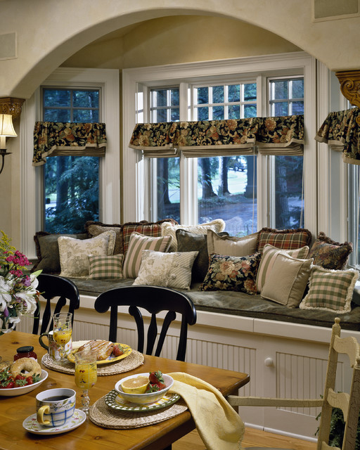 Waverly Valances Dining Room Traditional with Bay Window Country Farm