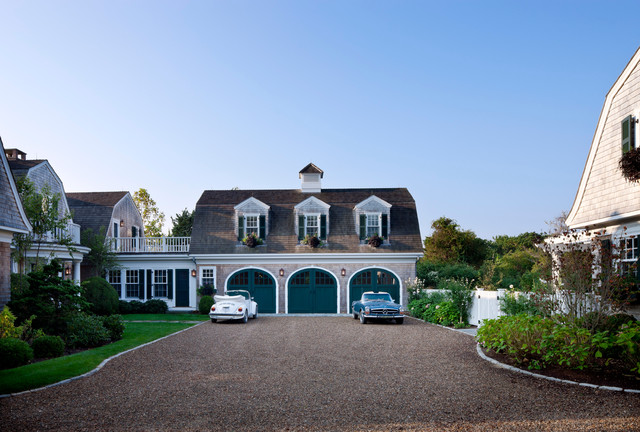 weathered wood shingles Exterior Beach with arched garage doors attached